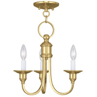 Livex Lighting Cranford 3 Light Mini Chandelier/Ceiling Mount in Polished Brass 5143-02