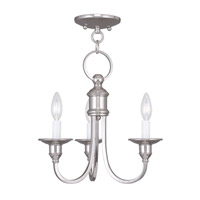 Livex 5143-35 Cranford 3 Light 14 inch Polished Nickel Mini Chandelier/Ceiling Mount Ceiling Light