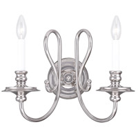 Livex Lighting Caldwell 2 Light Wall Sconce in Polished Nickel 5162-35