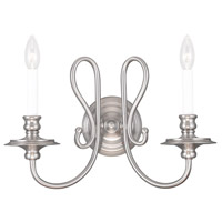 Livex Lighting Caldwell 2 Light Wall Sconce in Brushed Nickel 5162-91