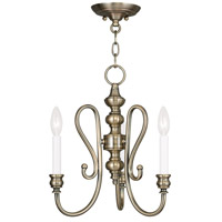 Livex Lighting Caldwell 3 Light Mini Chandelier/Ceiling Mount in Antique Brass 5163-01