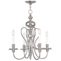 Livex Lighting Caldwell 4 Light Chandelier in Polished Nickel 5164-35