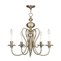 Livex 5165-01 Caldwell 5 Light 25 inch Antique Brass Chandelier Ceiling Light