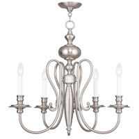 Livex Lighting Caldwell 5 Light Chandelier in Brushed Nickel 5165-91