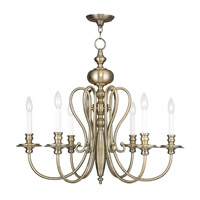 Livex Lighting Caldwell 6 Light Chandelier in Antique Brass 5166-01