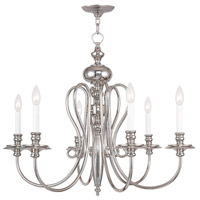 Livex 5166-35 Caldwell 6 Light 30 inch Polished Nickel Chandelier Ceiling Light