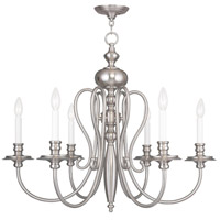 Livex 5166-91 Caldwell 6 Light 30 inch Brushed Nickel Chandelier Ceiling Light