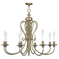 Livex Lighting 5168-01 Caldwell 8 Light 35 inch Antique Brass Chandelier Ceiling Light