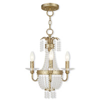 Livex Lighting Valentina 3 Light Convertible Mini Chandelier in Hand Applied Winter Gold 51843-28