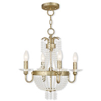Livex 51844-28 Valentina 4 Light 18 inch Hand Applied Winter Gold Convertible Mini Chandelier Ceiling Light