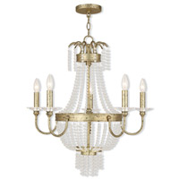 Livex 51845-28 Valentina 5 Light 26 inch Hand Applied Winter Gold Chandelier Ceiling Light