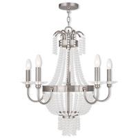 Livex 51845-91 Valentina 5 Light 26 inch Brushed Nickel Chandelier Ceiling Light
