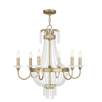 Livex 51846-28 Valentina 6 Light 28 inch Hand Applied Winter Gold Chandelier Ceiling Light