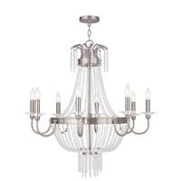 Livex 51848-91 Valentina 8 Light 32 inch Brushed Nickel Chandelier Ceiling Light