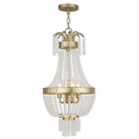 Livex 51854-28 Valentina 4 Light 13 inch Hand Applied Winter Gold Pendant Ceiling Light