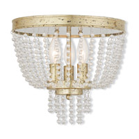 Valentina 3 Light 12 inch Hand Applied Winter Gold Flush Mount Ceiling Light