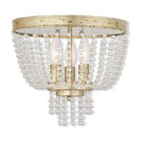 Livex 51864-28 Valentina 3 Light 12 inch Hand Applied Winter Gold Flush Mount Ceiling Light