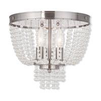 Livex 51864-91 Valentina 3 Light 12 inch Brushed Nickel Flush Mount Ceiling Light