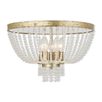 Livex Lighting Valentina 5 Light Flush Mount in Hand Applied Winter Gold 51866-28