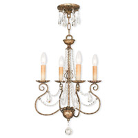 Isabella 4 Light 16 inch Hand Applied European Bronze Mini Chandelier Ceiling Light