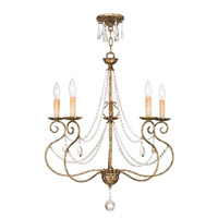 Livex Lighting 51905-36 Isabella 5 Light 24 inch Hand Applied European Bronze Chandelier Ceiling Light