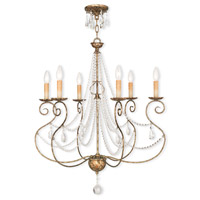 Isabella 6 Light 27 inch Hand Applied European Bronze Chandelier Ceiling Light