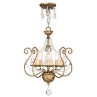 Isabella 5 Light 15 inch Hand Applied European Bronze Convertible Mini Chandelier Ceiling Light