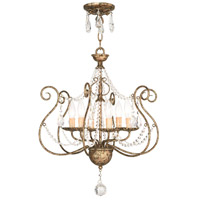 Isabella 6 Light 20 inch Hand Applied European Bronze Convertible Chandelier Ceiling Light