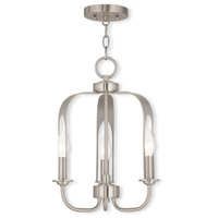 Livex 51933-91 Addison 3 Light 13 inch Brushed Nickel Convertible Mini Chandelier Ceiling Light