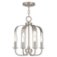 Livex 51934-91 Addison 4 Light 14 inch Brushed Nickel Convertible Mini Chandelier Ceiling Light
