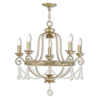 Sophia 5 Light 26 inch Hand Applied Winter Gold Chandelier Ceiling Light