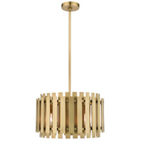 Livex 52048-08 Greenwich 5 Light 18 inch Natural Brass Pendant Chandelier Ceiling Light