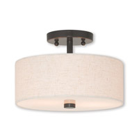 Meridian 2 Light 11 inch English Bronze Semi Flush Mount Ceiling Light