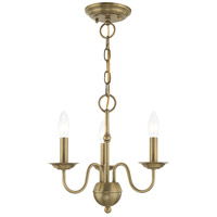 Livex 52163-01 Windsor 3 Light 14 inch Antique Brass Mini Chandelier Ceiling Light