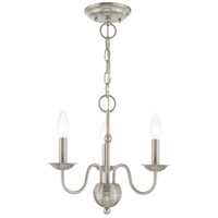 Livex 52163-91 Windsor 3 Light 14 inch Brushed Nickel Mini Chandelier Ceiling Light