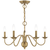 Livex 52165-01 Windsor 5 Light 24 inch Antique Brass Chandelier Ceiling Light