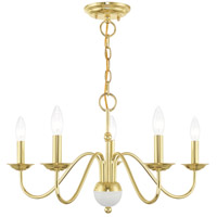 Livex 52165-02 Windsor 5 Light 24 inch Polished Brass Chandelier Ceiling Light