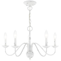 Livex 52165-60 Windsor 5 Light 24 inch Antique White Chandelier Ceiling Light