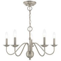 Livex 52165-91 Windsor 5 Light 24 inch Brushed Nickel Chandelier Ceiling Light