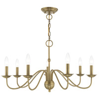 Livex 52167-01 Windsor 7 Light 28 inch Antique Brass Chandelier Ceiling Light