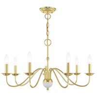 Livex 52167-02 Windsor 7 Light 28 inch Polished Brass Chandelier Ceiling Light