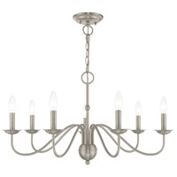 Livex 52167-91 Windsor 7 Light 28 inch Brushed Nickel Chandelier Ceiling Light