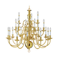 Livex 5321-02 Beacon Hill 22 Light 42 inch Polished Brass Chandelier Ceiling Light
