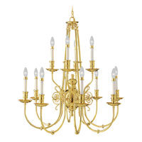 Livex Lighting Kensington 12 Light Chandelier in Polished Brass 5373-02