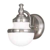 Livex Lighting Oldwick 1 Light Bath Wall Sconce in Brushed Nickel 5711-91
