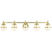 Livex 5715-02 Oldwick 5 Light 43 inch Polished Brass Vanity Sconce Wall Light