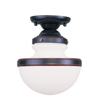 Livex Lighting Oldwick 1 Light Ceiling Mount in Olde Bronze 5721-67