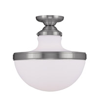 Livex Lighting Oldwick 1 Light Ceiling Mount in Brushed Nickel 5723-91