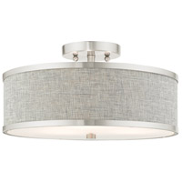 Livex 60423-91 Park Ridge 3 Light 15 inch Brushed Nickel Semi Flush Ceiling Light