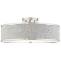 Livex 60425-91 Park Ridge 3 Light 18 inch Brushed Nickel Semi Flush Ceiling Light